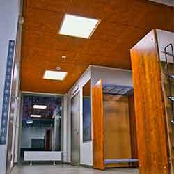 Cewood, akustiikkalevy, akustiikkalevyt, hirsitalo, akustiikkalevy seinään, akustiikkalevy kattoon, akustiikkapaneeli, sisustus, akustiikkalevy sisustukseen, akustiikkalevy julkisiin tiloihin, julkiset tilat